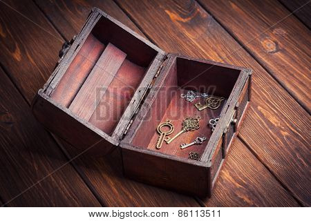 Vintage Keys Inside Old Treasure Chest On Wooden Background