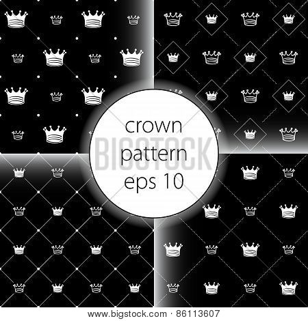 Crown Vector Icons Set Seamless  Pattern Art