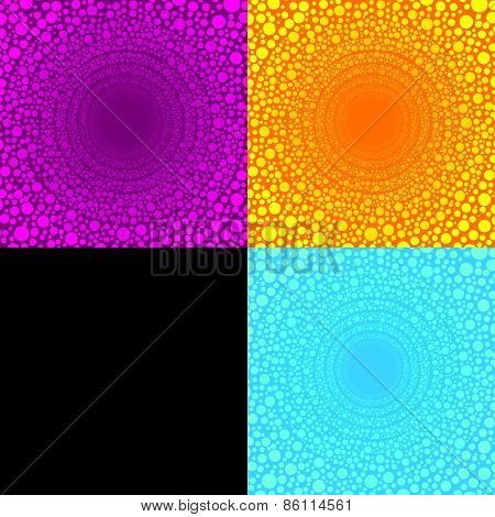 multiple dot Circles arranged in a wire circle bigger is 4 color tone pink yellow blue black