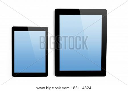 Big Computer And Mini Tablet On Isolated Background