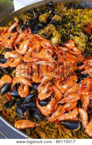 paella with seafood, market in Nyons, Rhone-Alpes, France