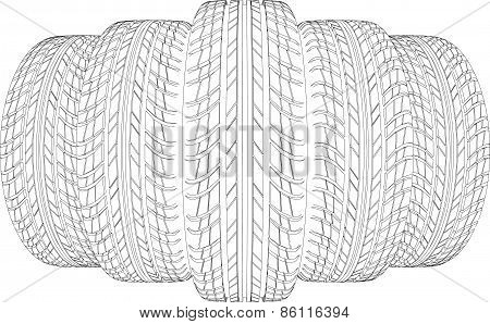 Wedge of five wire-frame tires. Vector illustration