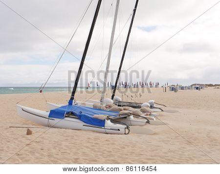 Catamarans on the beach of Fuerteventura