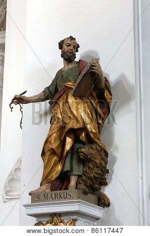 ELLWANGEN, GERMANY - MAY 07: Saint Mark the Evangelist, Basilica of St. Vitus in Ellwangen, Germany on May 07, 2014.