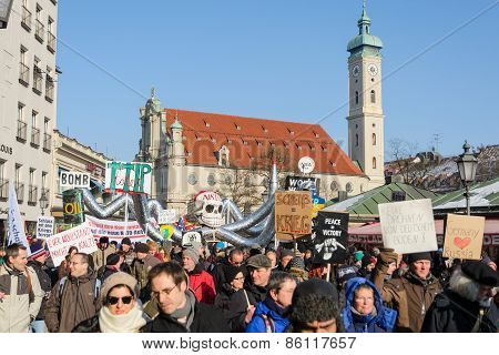 Demonstration Against Presence Nato Forces In Europe And Eastward Expansion