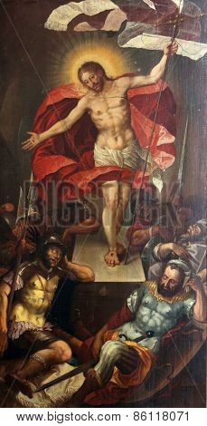 ELLWANGEN, GERMANY - MAY 07: The Resurrection of Christ, Basilica of St. Vitus in Ellwangen, Germany on May 07, 2014.