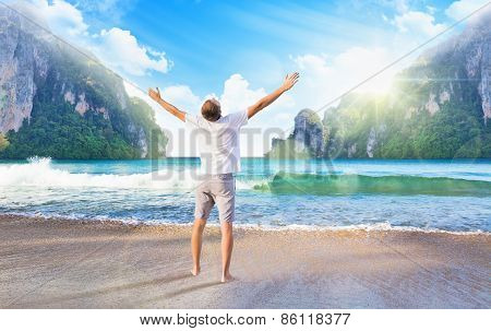 Man Enjoys Sea View. Sea Landscape With A Man And A Beautiful Sunrise