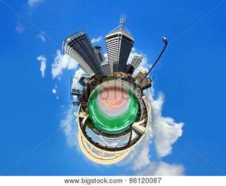 Abstract City View And Bridge