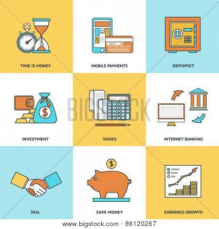 Modern financial line icons set in flat design for web site development, mobile applications, banners, corporate brochures, book covers, layouts etc. Vector eps10 illustration