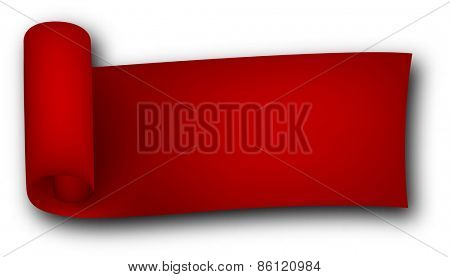 Red curled ribbon. Vector illustration.