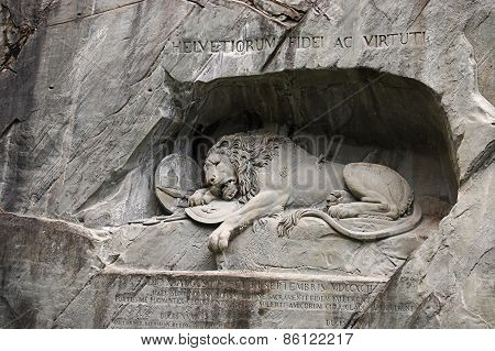 Statue Of Dying Lion In Lucerne