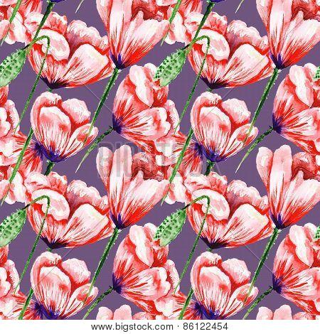 Poppy watercolor pattern on purple background