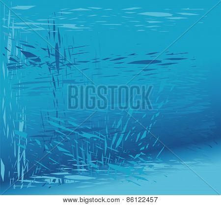 Broken glass blue background