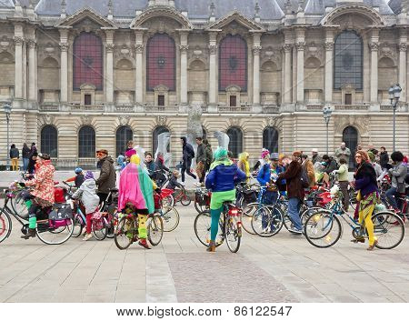 The Velorution Lille (59 Nord, France) Saturday, March 14, 2015, in front of the Palais des Beaux Ar