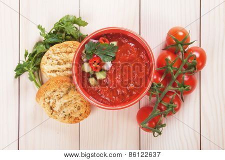 Gazpacho, spanish raw tomato and vegetable soup