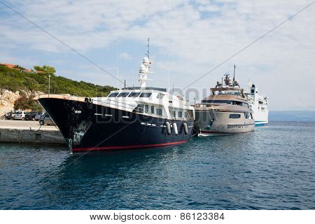 Luxury and expensive motor yacht in the sea or blue ocean.