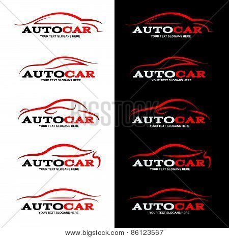 red car line logo is 5 style in black and white background