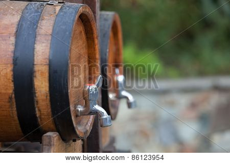 the barrels with wine standing on  street