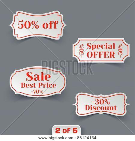 Vector Set of Sale Paper Retro Labels.
