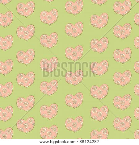 heart in a floret seamless retro pattern
