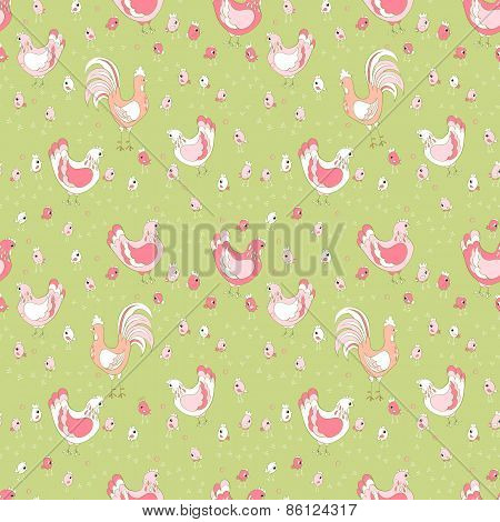 rooster hen and chicks seamless easter pattern