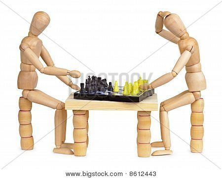 Two Silly Wooden Men Play Chess