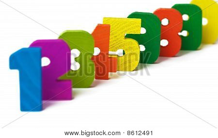 Line From Wooden Figures On White Background
