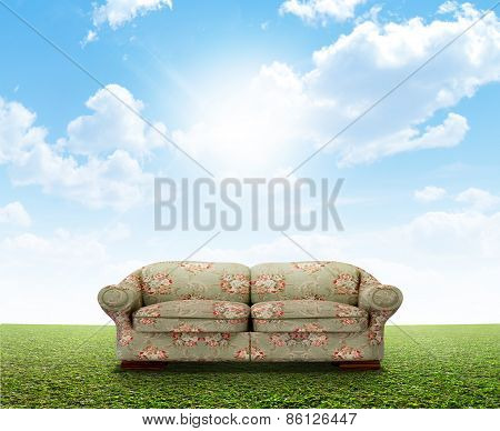 Floral Sofa On Lawn