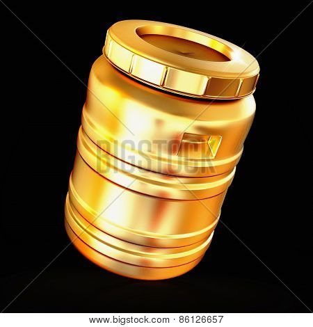 Golden  Barrel Isolated On A Black Background.