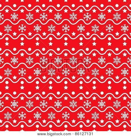 Snowflakes red seamless pattern