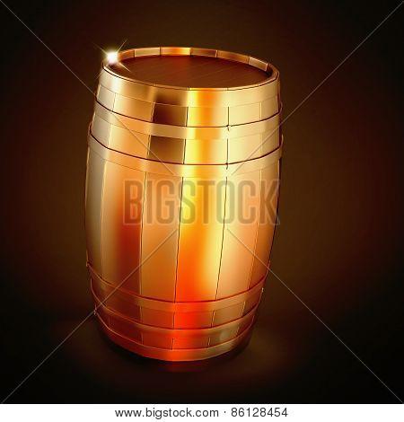 Golden  Barrel  On A Black Background.