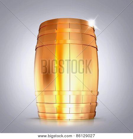 Golden  Barrel  On A Grey Background.