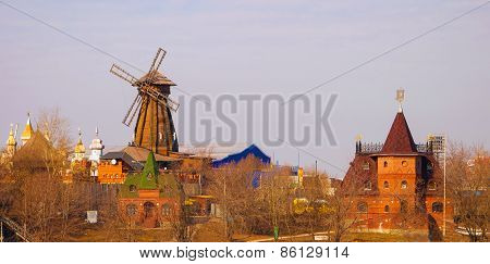 wooden windmill and tower