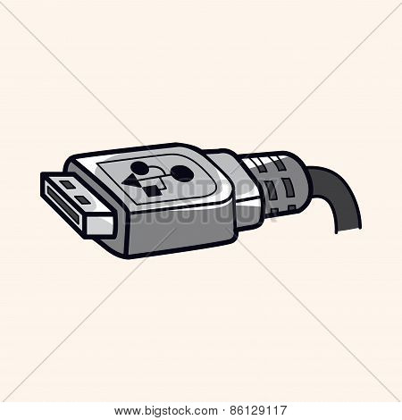 Computer-related Equipment Usb Cable Theme Elements
