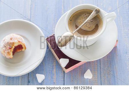 Coffee Cup Milk Sweet Dessert Bitten Donuts Icing Sugar