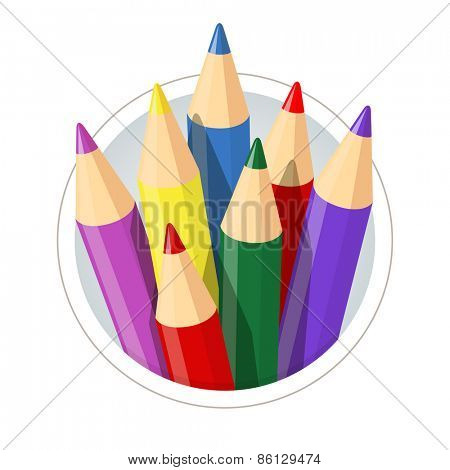 Set of colour pencils for drawing. Eps10 vector illustration. Isolated on white background