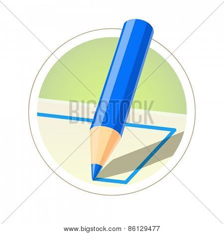Colour pencil for drawing. Vector illustration. Isolated on white background