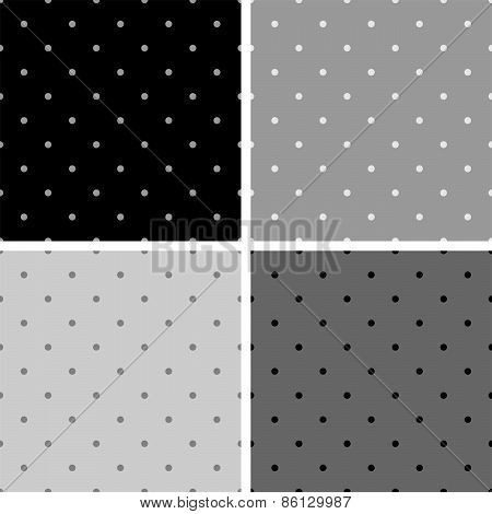 Tile vector pattern set with small polka dots