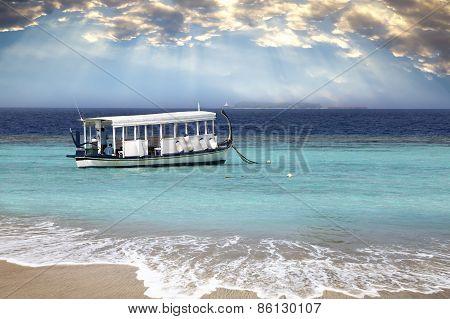 Maldives. A national boat at ocean.