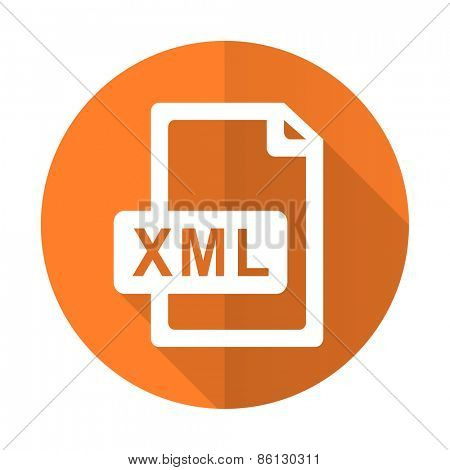 xml file orange flat icon