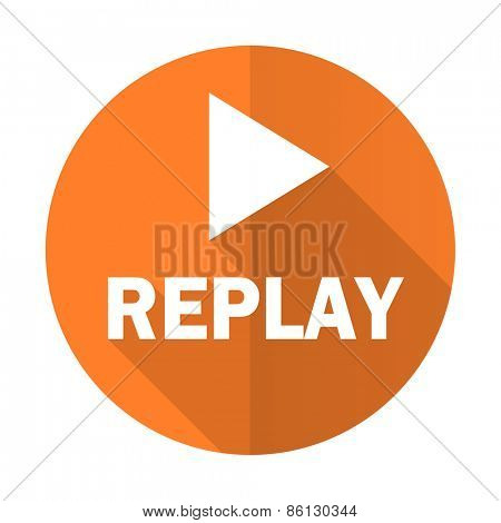 replay orange flat icon