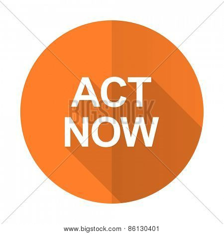 act now orange flat icon