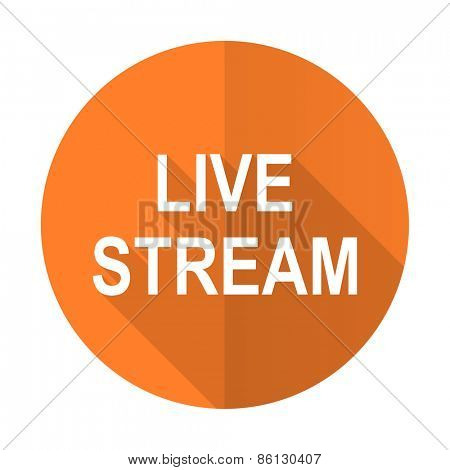 live stream orange flat icon
