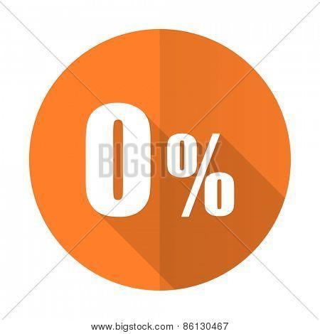 0 percent orange flat icon sale sign