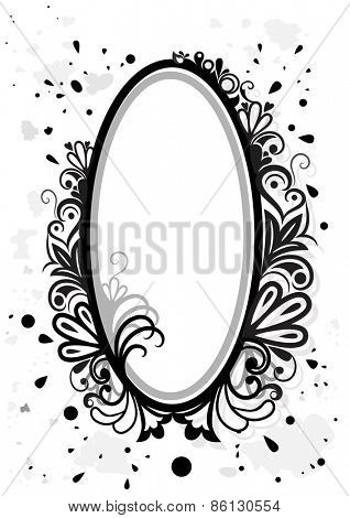 Black and white floral frame with paint splashes.