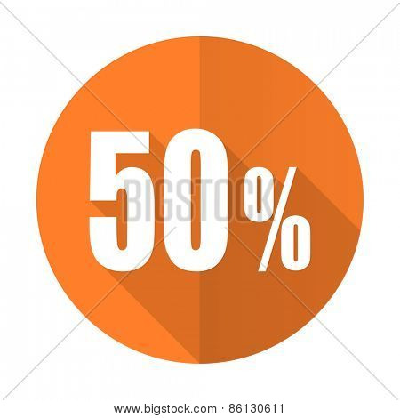 50 percent orange flat icon sale sign