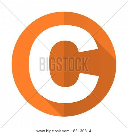 copyright orange flat icon