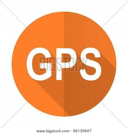gps orange flat icon