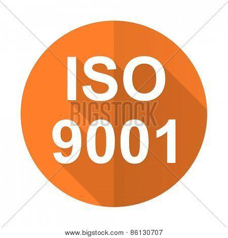 iso 9001 orange flat icon