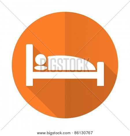 hotel orange flat icon bed sign